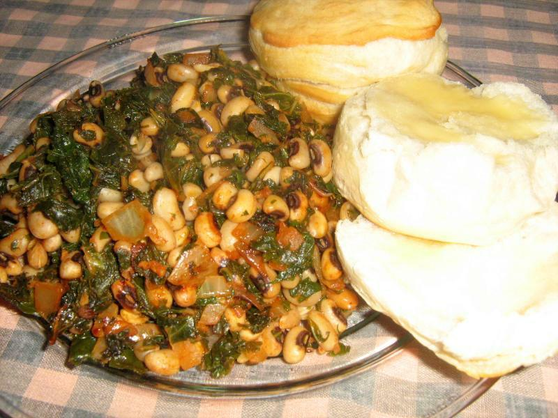 Smokey Greens and Black Eyed Peas with Biscuits