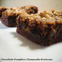 Improv Challenge - Chocolate Pumpkin Cheesecake Brownies