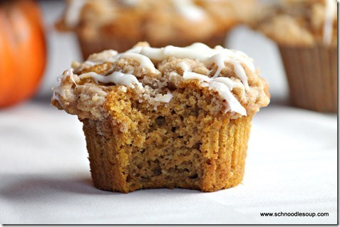 (Tastes Just Like Dunkin' Donuts') Streusel Topped Pumpkin Muffins with Cream Cheese Glaze