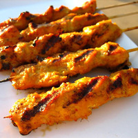 Chicken Satay Sticks with Wasabi Mayonnaise