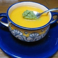 Butternut Squash Soup with Green Chile-Coriander Chutney