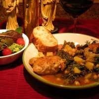 Braised Chicken & Sausage with Kale & Spinach