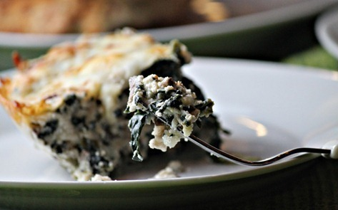 Crustless Spinach and Mushroom Quiche