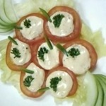 crab and tuna in tomato cups