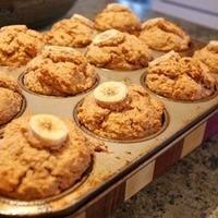 Peanut butter, banana, flax, oatbran muffins