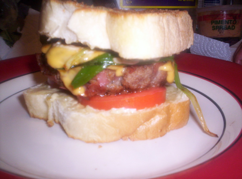 Salami Spiked Burgers w/Grilled Green Onions on Toasted ...