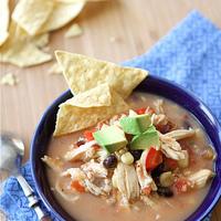 Crockpot Chicken Tortilla Soup Recipe with Black Beans & Corn (Slow Cooker)