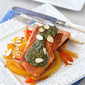 Seared Salmon with Pesto, Sauteed Peppers & Toasted Almonds Recipe