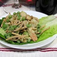 Curried Chow Mein Noodle, Pea, Shrimp & Cashew Salad