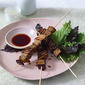 Tuna and eggplant yakitori skewers with soy dipping sauce