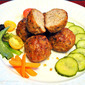 Thai-Inspired Meatballs with Vinegar Pickled Cucumbers