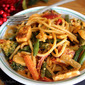 Spaghetti Rigati with Mixed Veggies & Paneer in Thai Red curry sauce