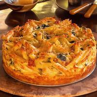 Asiago Mac and Cheese Pie with Truffled Potato Crust or Timballo di Maccheroni