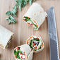 Chicken Pinwheel Sandwich Recipe with Roasted Red Pepper, Kalamata Olives & Herb Yogurt