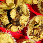 Muffin CEREAL tops-EXTEND BATTER for 12 into 24 with Amaretto-Nut-Chocolate-Dulce de Leche interiors