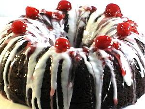 Dazzling, Skinny Chocolate Cherry Bundt Cake