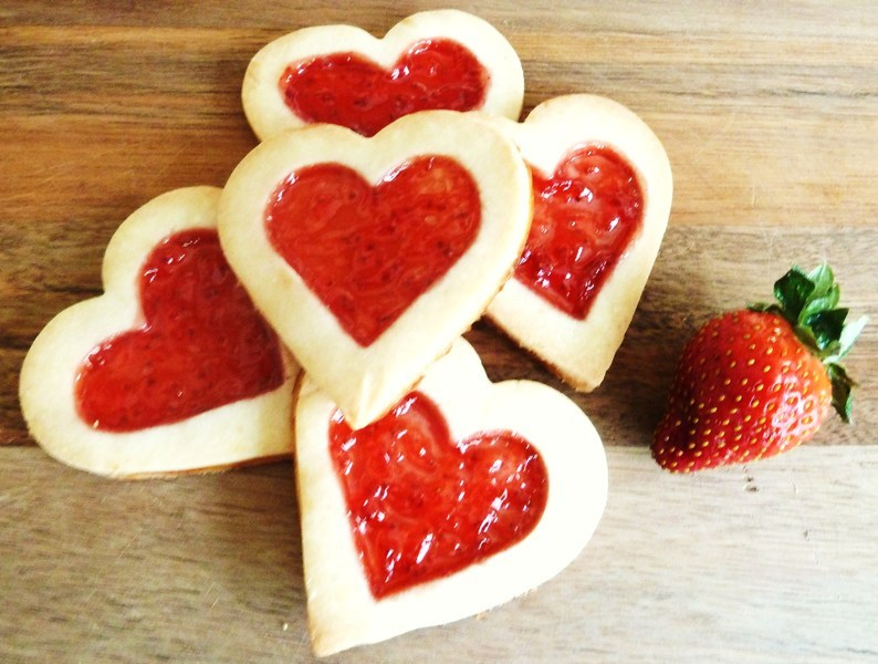 Heart shaped strawberry biscuits Recipe by dottybee - CookEatShare