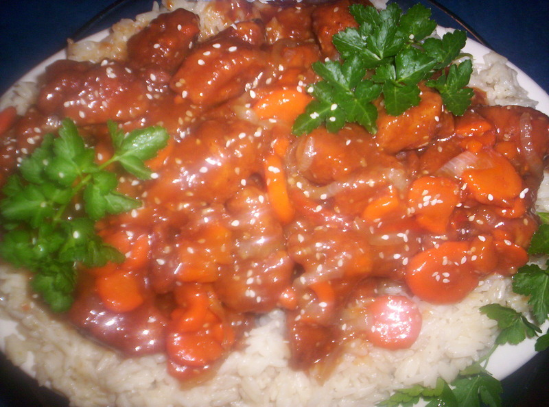 Sesame Ginger Chicken w/ Carrots and Jasmine Rice