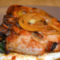 Bourbon Glazed Pork Chops & Sauteed Rainbow Swiss Chard