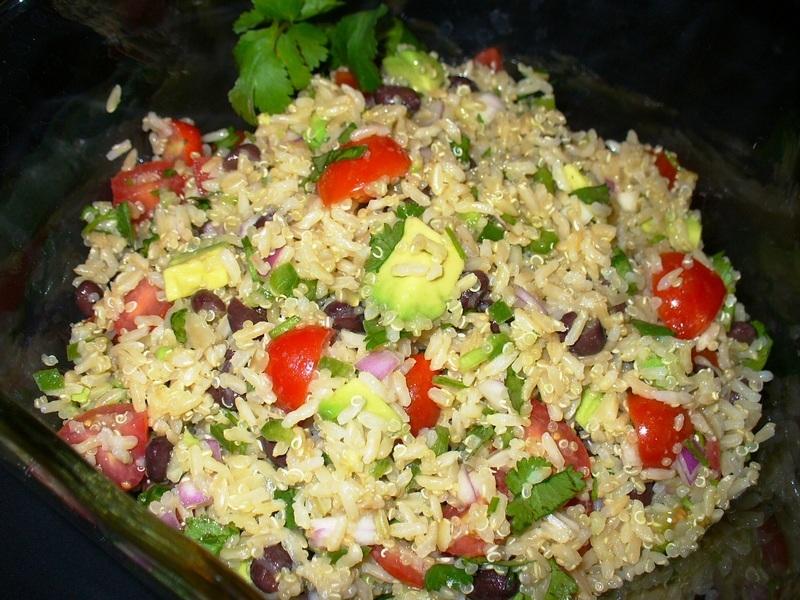Mexican Brown Rice, Quinoa and Black Bean Salad
