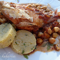 Scorpionfish with chickpeas and wine polenta