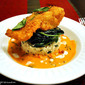 Panko Fried Cod, Lime Red Curry served on herbed Basmati Rice and sake spinach
