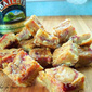Irish Cream Blondies with Raspberry Swirl ~ Perfect for St. Patty's Day!