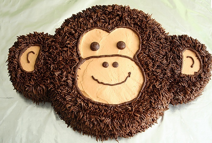 Cute Monkey Face Cake Design
