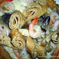 Shrimp Mushroom Crepe with Cheese sauce - Bonaire Island inspired