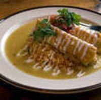 Enchiladas de Carne Adovada con Salsa Verde y Crema (Pork Enchiladas)