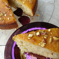 Cake with lemon, rosewater and pistachios