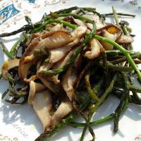 Wild asparagus with Shiitake mushrooms