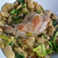 Rabbit with Butter Beans and Spring Greens