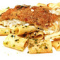 Italian Herb Crusted Flounder with Rigatoni in Wine Sauce Pasta