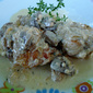 Pan-fried chicken in mushroom sauce