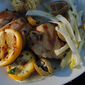 Chicken Thighs and Olive-Fennel Salad with Grilled Lemon Slices