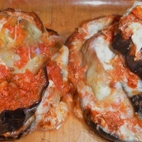 PURPLE AND WHITE EGGPLANT PARMIGIANA--BAKED--NOT FRIED
