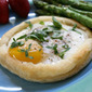Baked Eggs in Puff Pastry with Goat Cheese & Bacon
