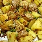 Rustic Style Roasted Potatoes with Roasted Garlic Chips and Sea...