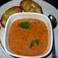 Tomato-Basil Soup with Garlic Cheese Bread, from Cooking Light Magazine March 2012