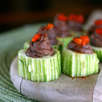 Cucumber Cups with Black Beans