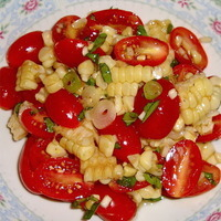 Roasted Corn & Tomato Salad with Basil Balsamic Dressing