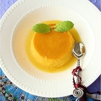 Mango flan with coconut cream