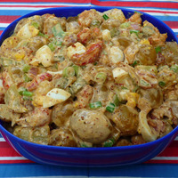 Celebrating #SundaySupper July 4th Fun...Featuring Texas-Creole Crawfish Potato Salad
