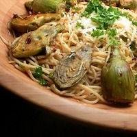 Baby Artichokes in Sauted in Garlic, Lemon Wine Sauce served over Spaghetti