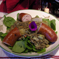 French du Puy Green Lentils with Chicken Apple Sausage