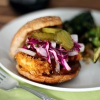 Crispy Barbecue Tofu Sandwiches with Red Cabbage Slaw