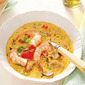 Shrimp with curry and coconut milk