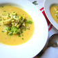 Chilled Corn Soup w/ Crab & Avocado Salad