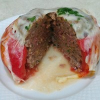 Stuffed Baked Tomatoes with Meatball and Provolone